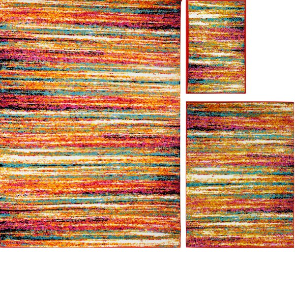 Carrasco Striped Brushstrokes 3 Piece Rug Set by Latitude Run