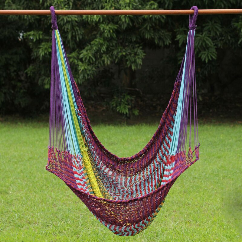 fair trade  fortable multicolored hand woven thai cotton indoor and outdoor swinging hammock chair hammock novica fair trade  fortable multicolored hand woven thai cotton      rh   wayfair