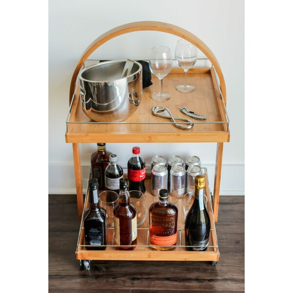 Zaria Spacious Bamboo Bar Cart by Millwood Pines
