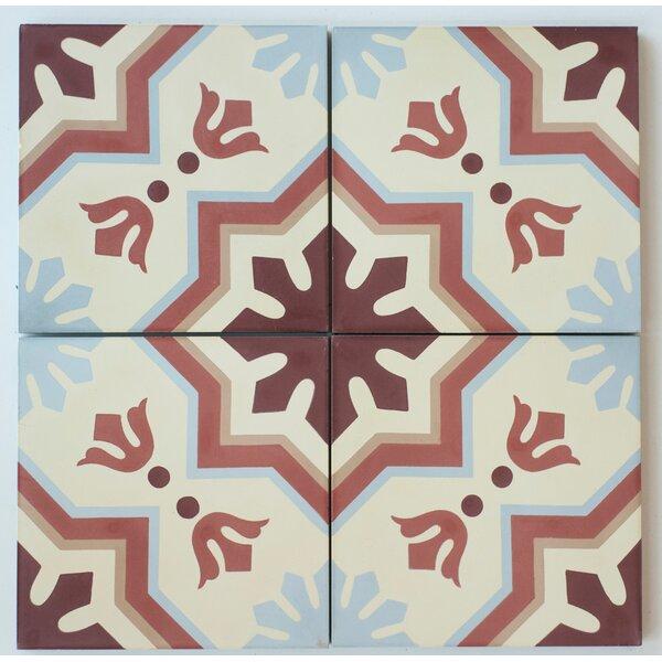 MeaLu 8 x 8 Cement Field/Patterned Tile in Terracotta/Beige (Set of 4) by Rustico Tile & Stone