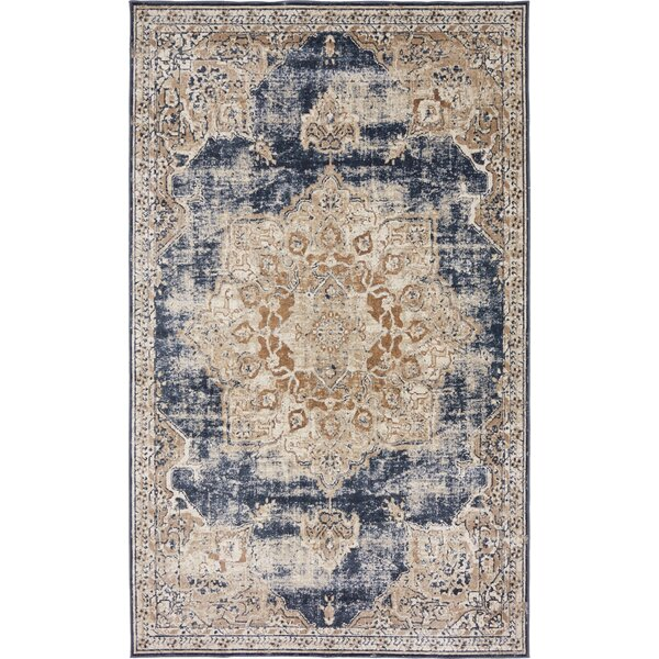 Abbeville Power Loom Dark Blue Area Rug by Laurel