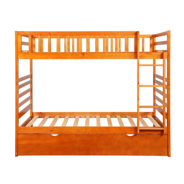 Lowder Solid Wood Twin over Twin Bunk Bed with Trundle by Harriet Bee