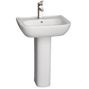 Compare prices Caroline Lavatory Vitreous China Pedestal Bathroom Sink with Overflow By Barclay