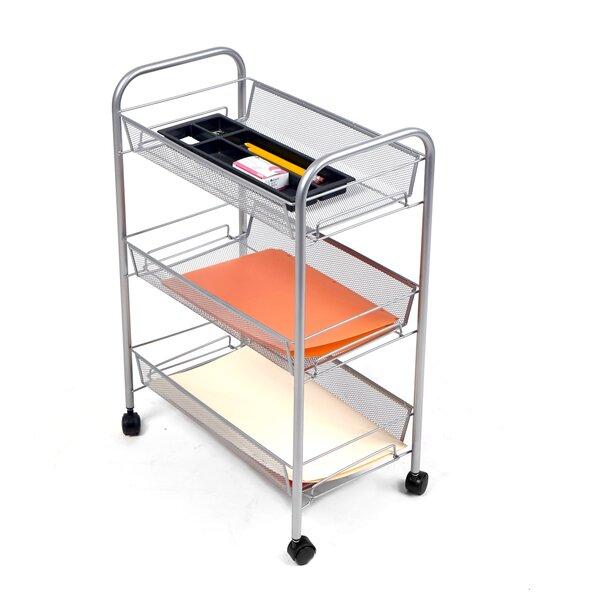 Roll Rolling Metal Mesh 3 Shelf Cart by Mind Reader