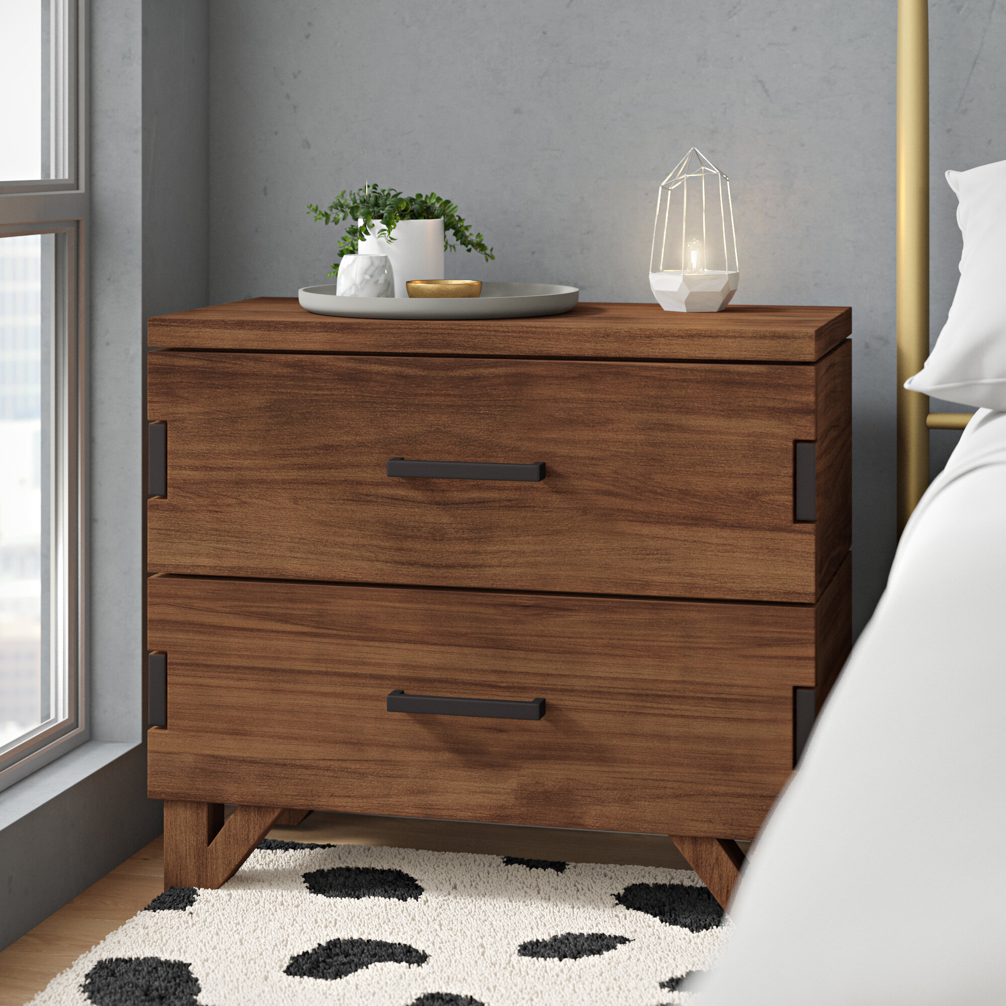 Toman 2 Drawer Nightstand