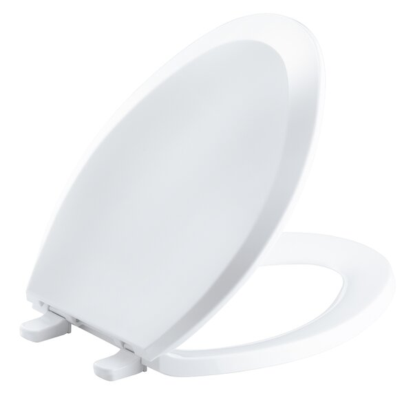 Lustra with Quick-Release Hinges Elongated Toilet Seat with Anti-Microbial Agent by Kohler