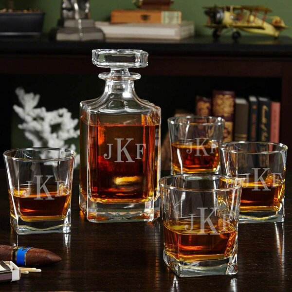 Leer Monogrammed Liquor 5 Piece Beverage Serving Set by Darby Home Co