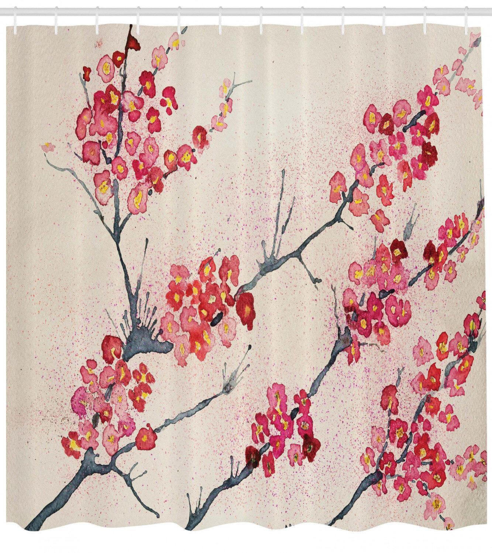Floral Shower Curtain Set Hooks