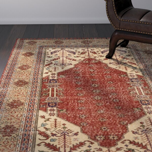 One-of-a-Kind Olsen Hand-Knotted Dark Copper Area Rug by Bloomsbury Market