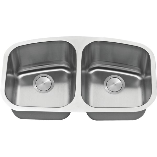 34 L x 19 W Double Basin Undermount Kitchen Sink with Basket Strainer