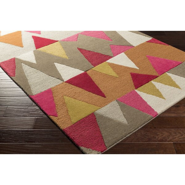 Nida Hand-Tufted Pink/Orange Area Rug by Wrought Studio
