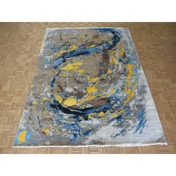 One-of-a-Kind Ziegler Modern Abstract Hand-Knotted Wool Black/Green Area Rug by Latitude Run