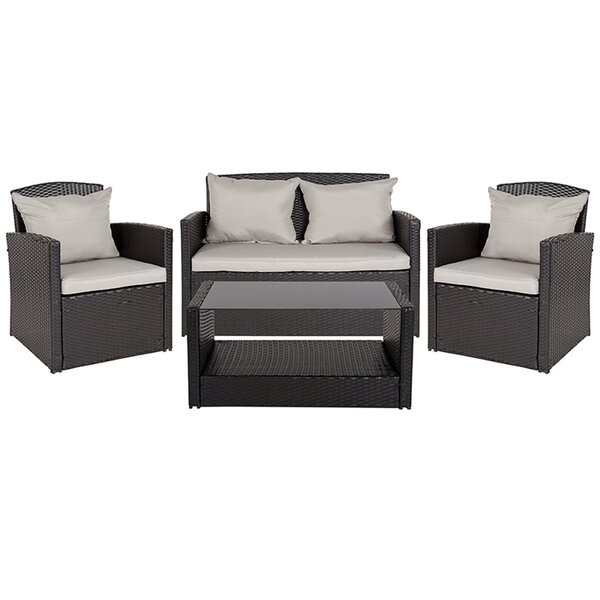Terrene 4 Piece Sofa Seating Group with Cushions by Latitude Run