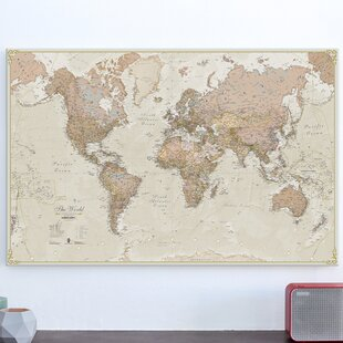 Maps wall art wayfair antique world map graphic art print on canvas gumiabroncs Choice Image