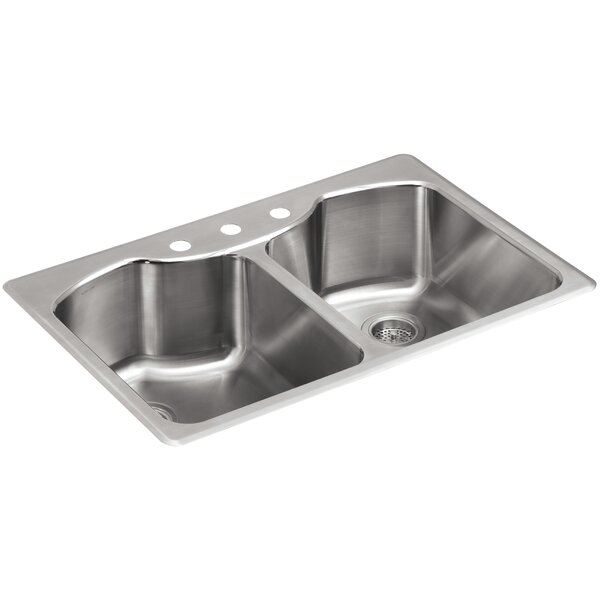 Octave 33 L x 22 W x 9-5/16 Top-Mount Double-Equal Stainless Steel Kitchen Sink with Three-Faucet Holes by Kohler