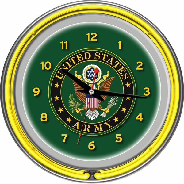 U.S Army 14.5 Symbol Double Ring Neon Wall Clock by Trademark Global