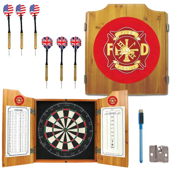 Fire Fighter Dart Cabinet in Medium Wood by Trademark Global