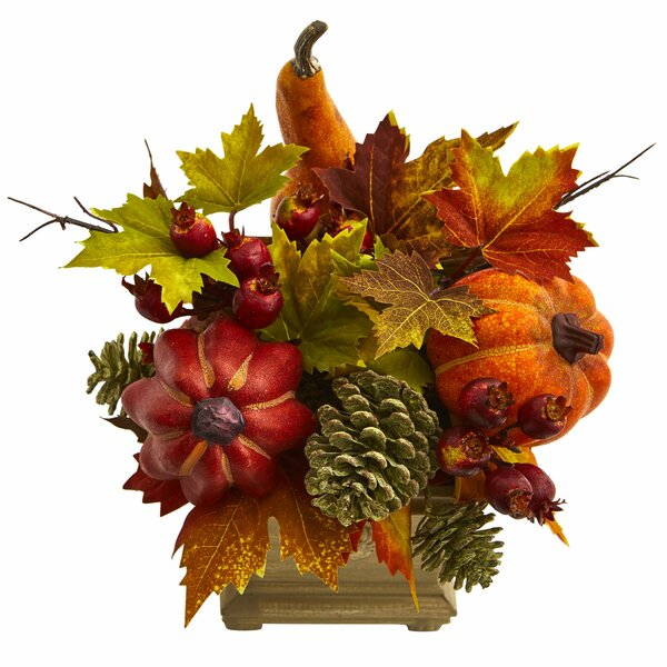 Pumpkin, Gourd, Berry and Maple Leaf Floral Arrangement by The Holiday Aisle