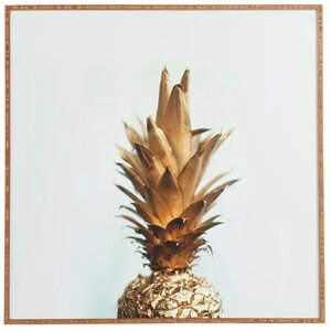 'The Gold Pineapple' Framed Graphic Art by Beachcrest Home
