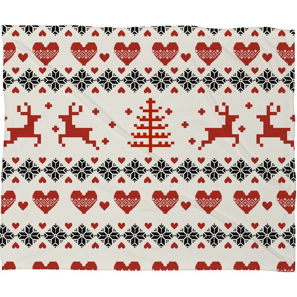 Knitting Deer Let It Snow Hearts Fleece Polyester Throw Blanket by East Urban Home