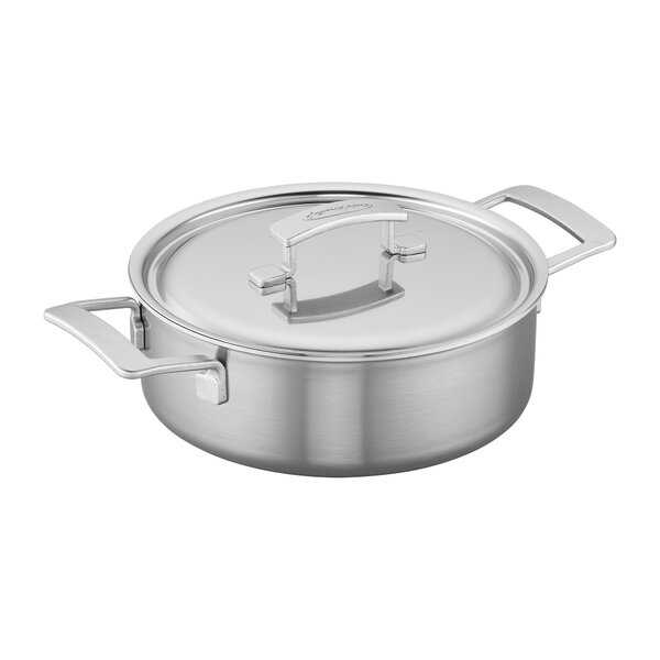 Industry 4 qt. Stainless Steel Deep Paella Pan with Lid by Demeyere