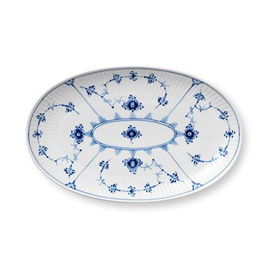 Blue Fluted Plain Oval Accent Dish by Royal Copenhagen