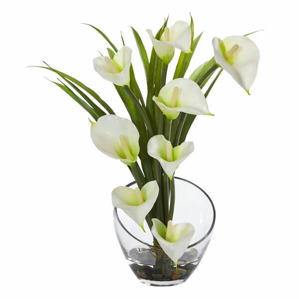 Calla Lily and Grass Artificial Floral Arrangement in Vase by Orren Ellis