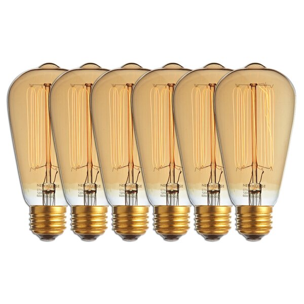 60 Watt A19 Incandescent, Light Bulb, Warm White (2700K) E26/Medium (Standard) Base (Set of 6) by Newhouse Lighting
