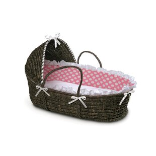 Best Reviews Hooded Moses Basket with Polka Dot Bedding By Badger Basket