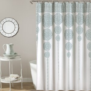 aqua and brown shower curtain. Nemeara Shower Curtain Curtains  Birch Lane