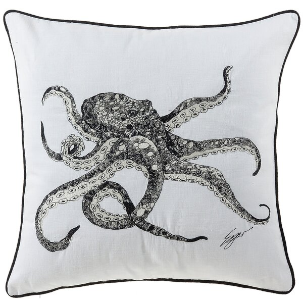 Bucci Octopus Sea Creatures Cotton Throw Pillow by Highland Dunes