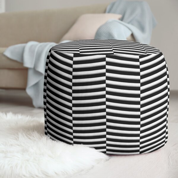 Color Fractured Stripes Pouf by East Urban Home