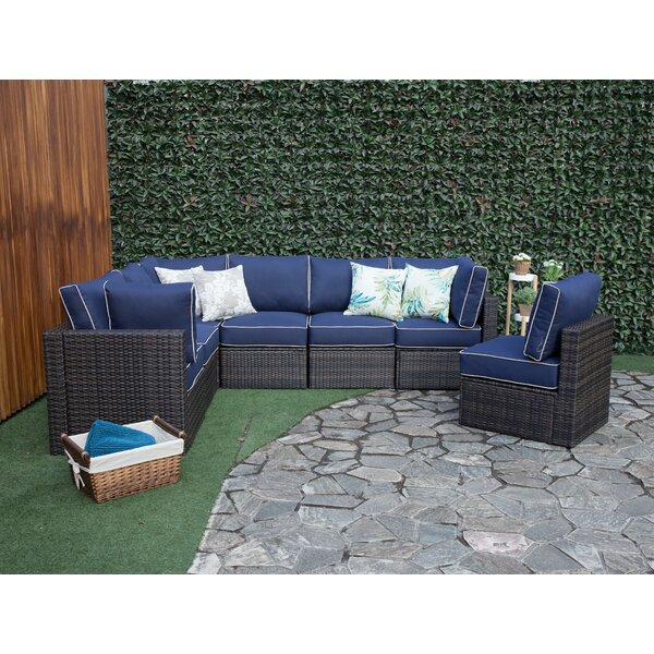 Sappington Outdoor 7 Piece Rattan Sectional Seating Group with Cushions by Breakwater Bay