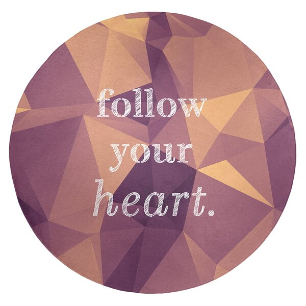 Faux Gemstone Follow Your Heart Quote Poly Chenille Rug