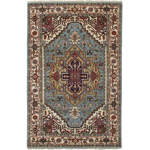 Lenita Hand Knotted Wool Light Blue Area Rug