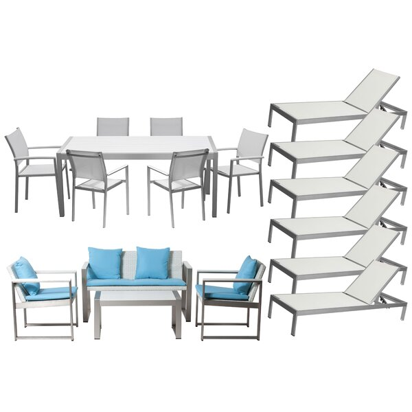 Dorsey 17 Piece Conversation Set with Cushions by Wade Logan