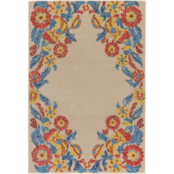 Dimaggio Hand-Tufted Poppy Red/Turquoise Indoor/Outdoor Area Rug by Bungalow Rose