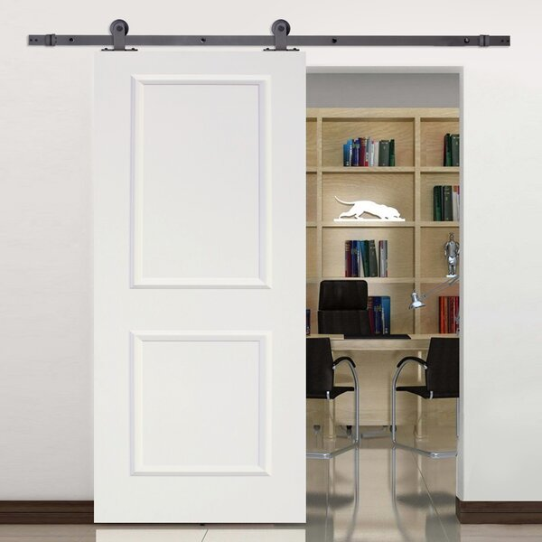 Top Mount Sliding Track Hardware MDF 2 Panel Primed Interior Barn Door by Calhome