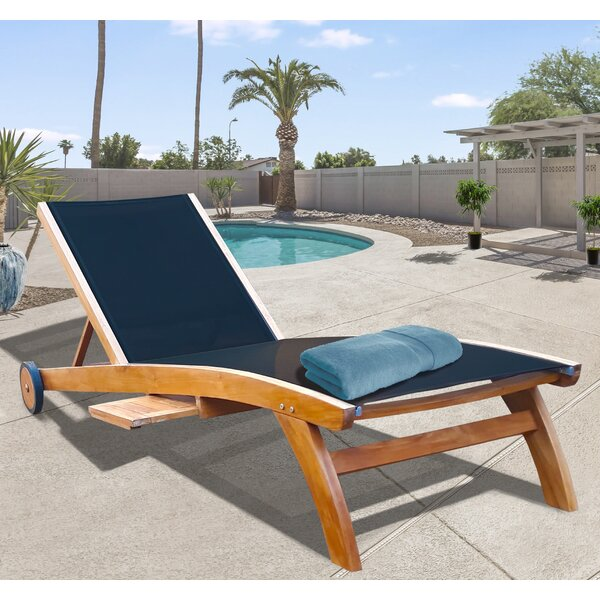 Hammond Pool Reclining Teak Chaise Lounge with Table