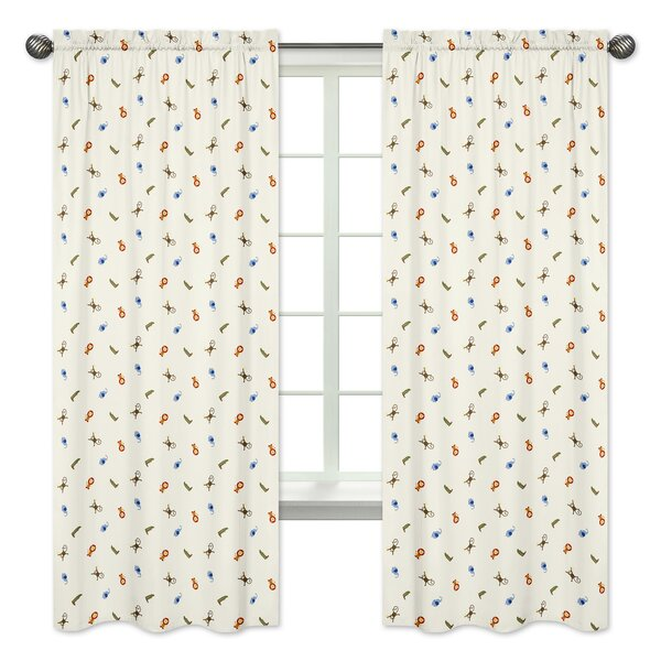 Jungle Time Wildlife Semi-Opaque Rod Pocket Curtain Panels (Set of 2) by Sweet Jojo Designs
