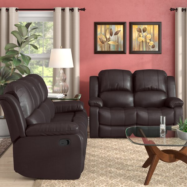 Maumee Reclining 2 Piece Leather Living Room Set