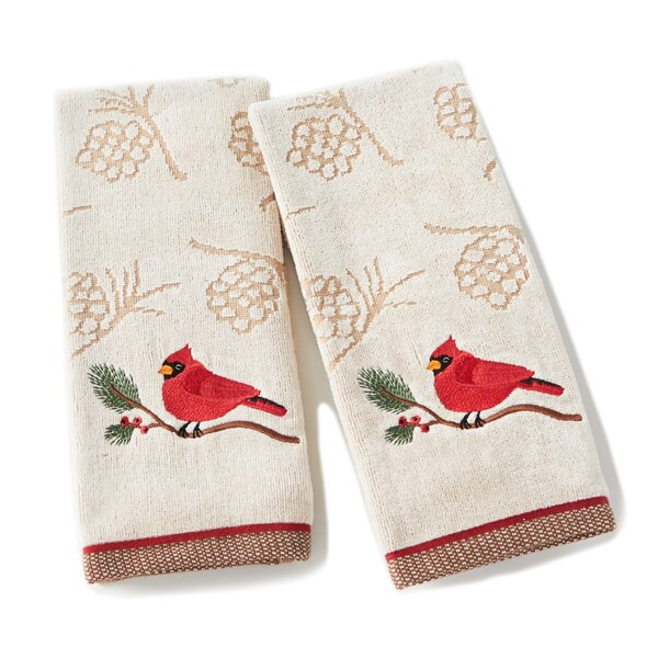 Bradshaw Cardinal and Branch Cotton Hand Towel (Set of 2) by The Holiday Aisle