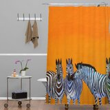 Candy Stripe Zebras Single Shower Curtain by East Urban Home