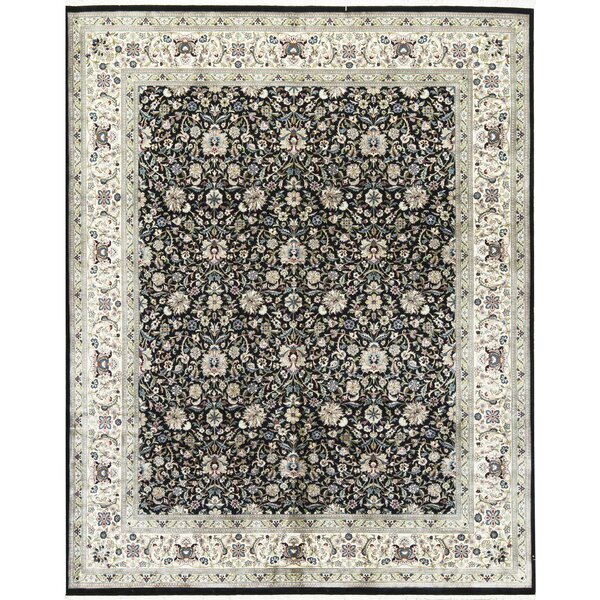 One-of-a-Kind Worsted Wool Hand-Knotted Wool Black/Ivory Area Rug by Bokara Rug Co., Inc.