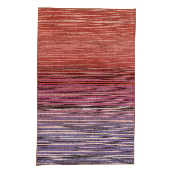Clement Horizon Line Red/Purple Area Rug by Bungalow Rose