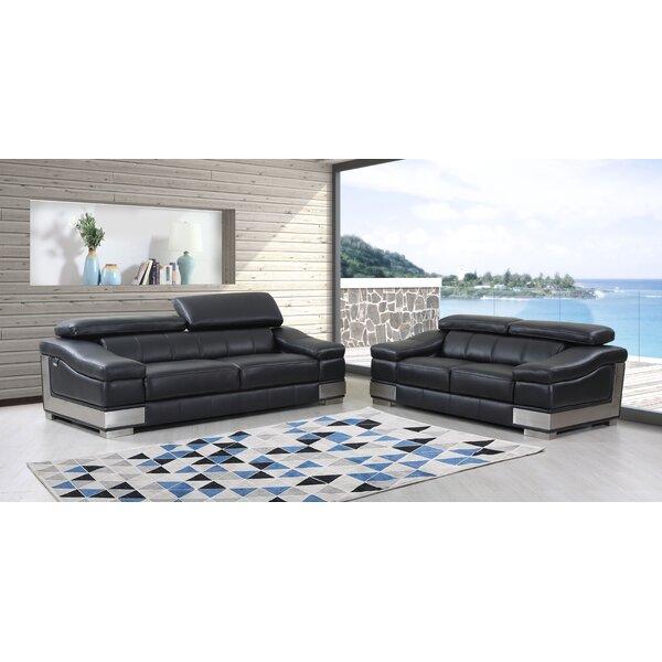 Judith Leather 2 Piece Living Room Set by Orren Ellis