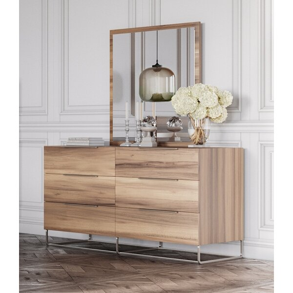 Kingon 6 Drawer Double Dresser with Mirror by Brayden Studio