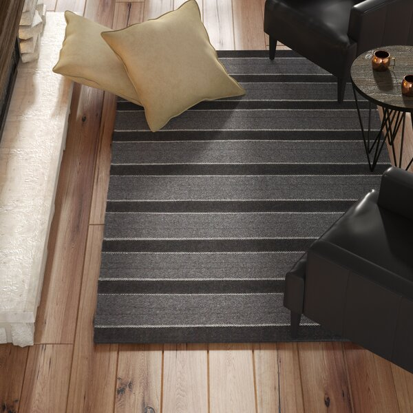 Dumont Modern Hand-Woven Charcoal Area Rug by Trent Austin Design