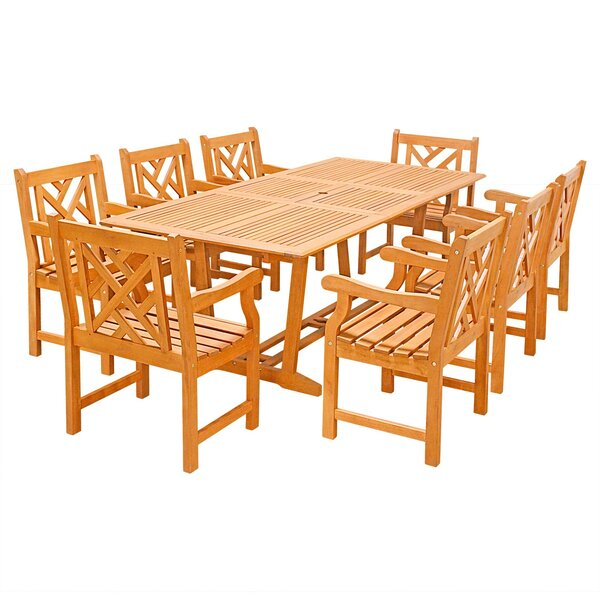 Rockwood 9 Piece Dining Set by Rosecliff Heights