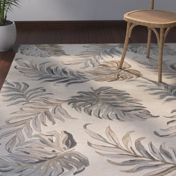 Imala Hand-Tufted Palms Ivory Wool Area Rug by Beachcrest Home